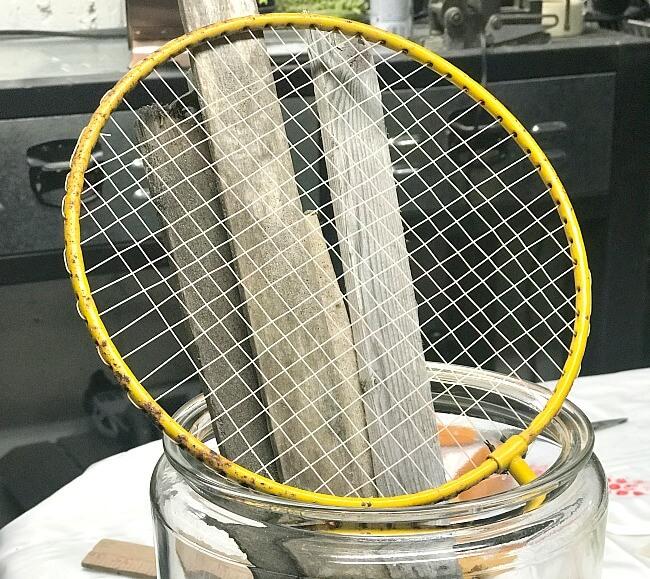 Repurposed Badminton Racket Pumpkin