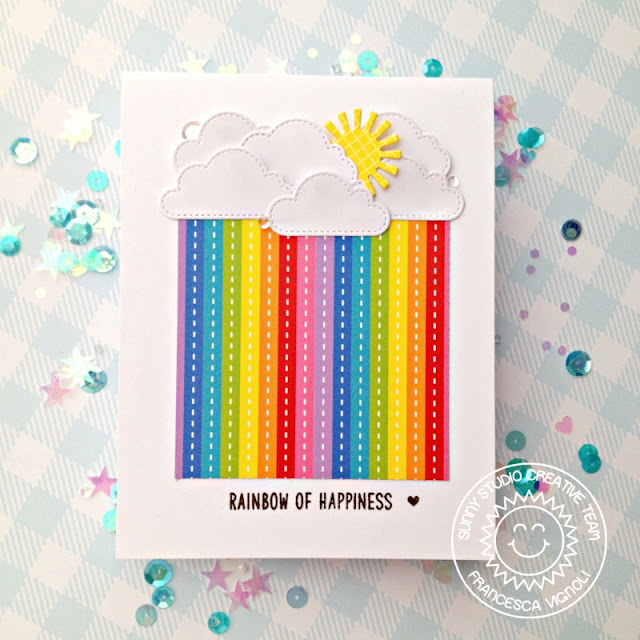 Sunny Studio Stamps: Best Fishes Fluffy Clouds Over The Rainbow Rainbow Word Die Rainbow Themed Cards by Franci Vignoli and Mona Toth