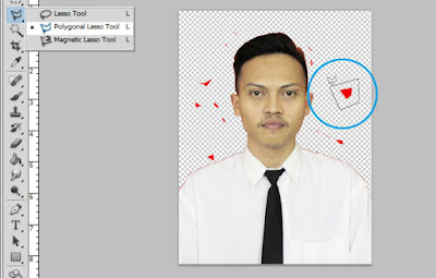 Menyeleksi sekali lagi menggunakan Polygonal Lasso Tool