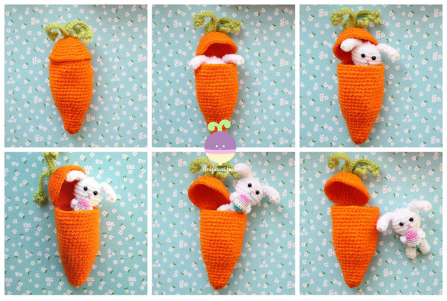 Free Amigurumi Carrot Pattern : Amigurumi Food: Carrot Surprise Easter Bunny Free Crochet ...