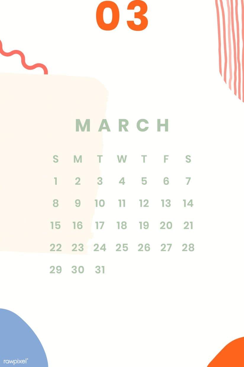 Calendario colorido marzo 2020