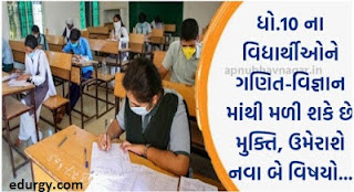 Std-10 students can get relief from maths-Science - two new subjects may come