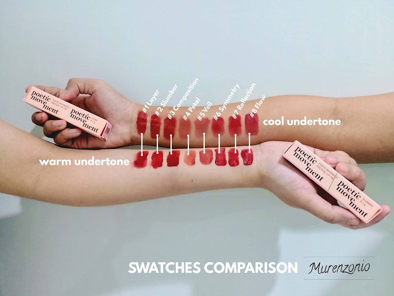 Poetical Lip Tint by POETIC MOVEMENT swatches comparison
