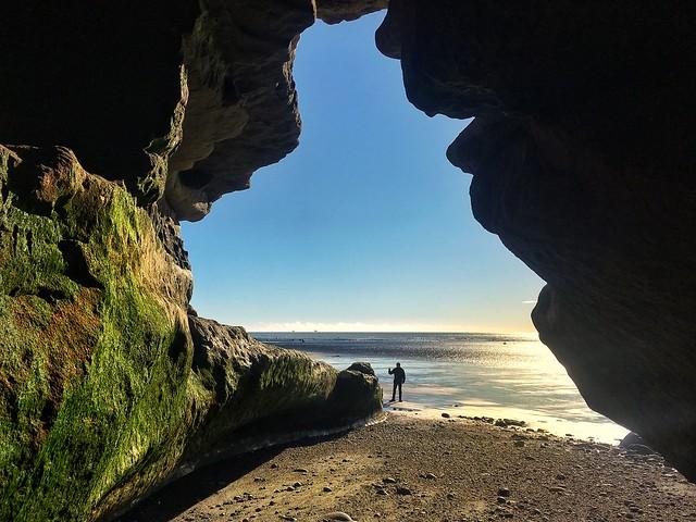 Huge cave opening in northern Chilean Tierra del Fuego