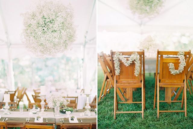 decoracao casamento gypsophila:Usar potes de vidros para colocar as Gipsófilas são uma das ideias