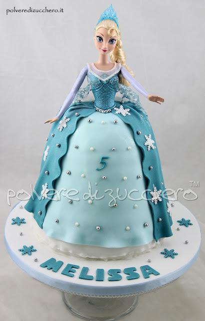 elsa disney frozen pasta di zucchero bambola torta decorata pasta di zucchero