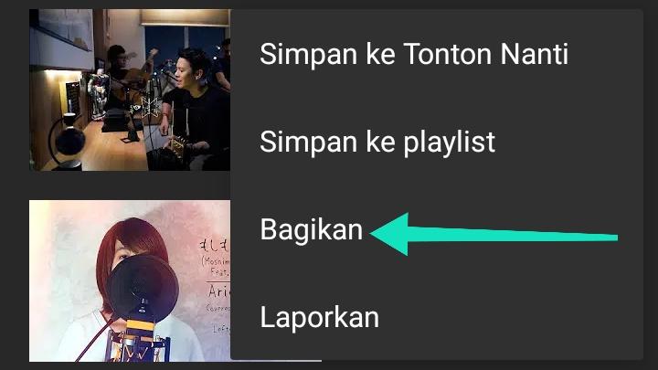 klik bagikan video youtube