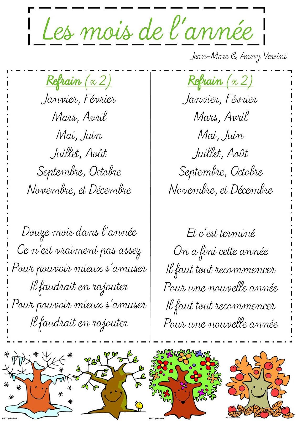La Chanson Des Douze Mois : chanson, douze, Chanson, L'année, Nouveau, Cl'école, Spéracèdes