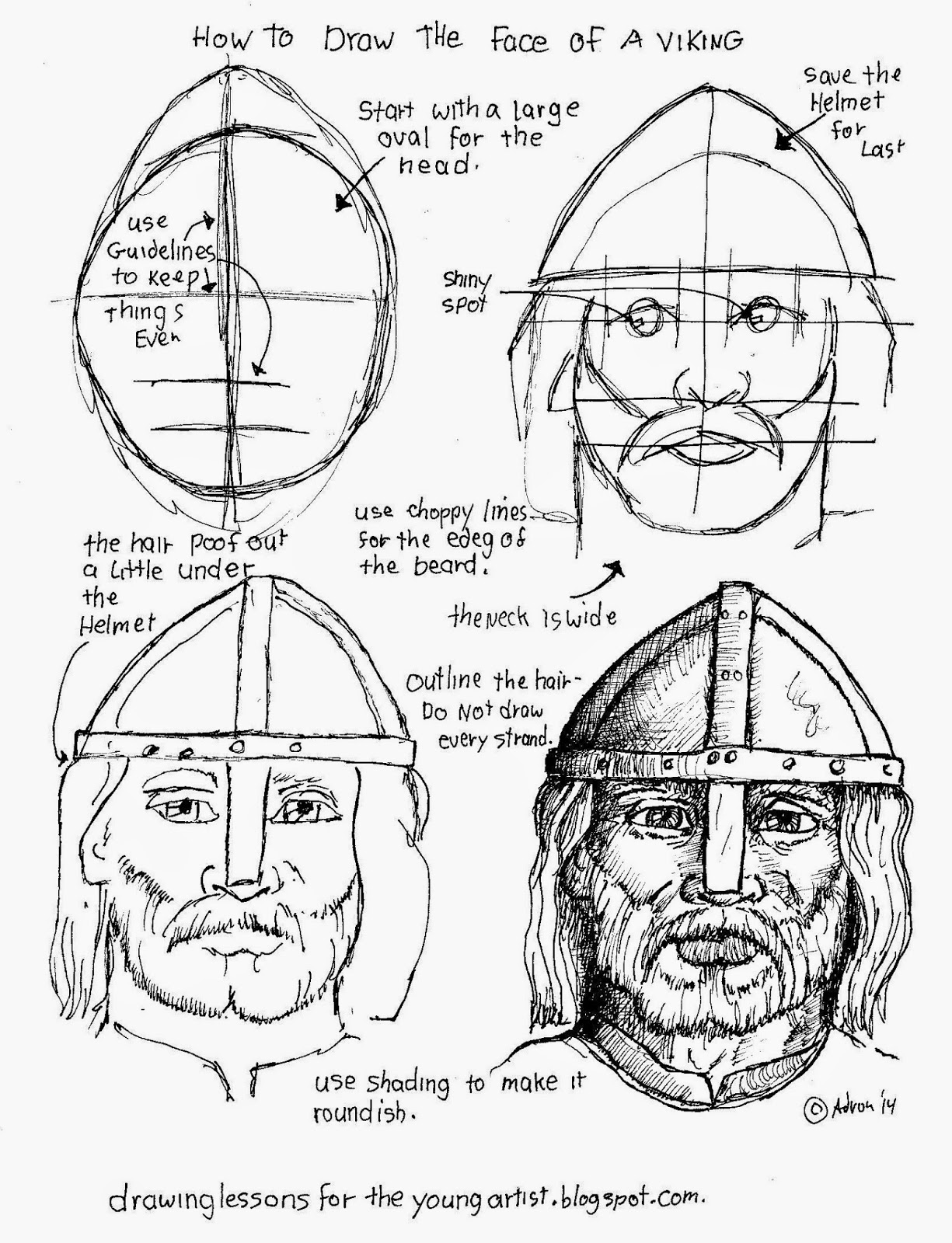 How To Draw Worksheets For The Young Artist How To Draw A Face Of A Viking Free Worksheet