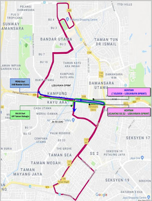 PJ05 bus trial run route map