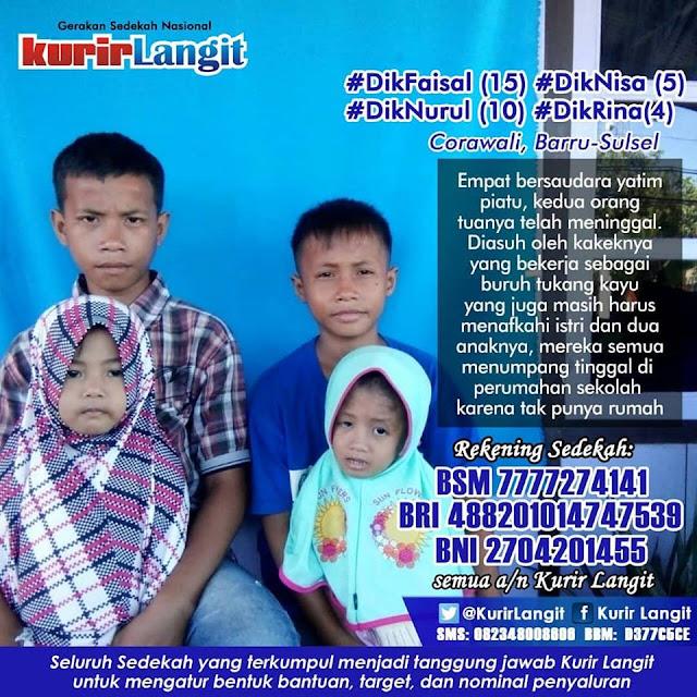 Yuk Berbagi Sedekah bersama Kurir Langit ! Empat Bersaudara Yatim Piatu Warga Corawali Barru Butuh Bantuan