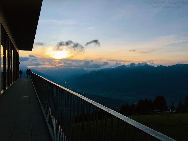 Sunset through the valley at Patscherkofel