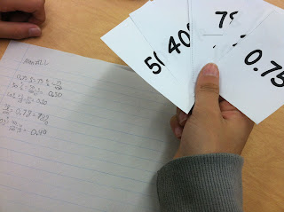 playing a game to memorize fractions and decimals