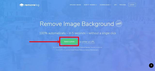 رفع الصورة الي موقع remove.bg