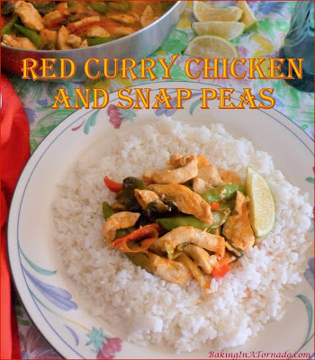 Red Curry Chicken and Snap Peas comes together in just one pan. Chicken and vegetables are simmered in an enhanced red curry sauce. | Recipe developed by www.BakingInATornado.com | #recipe #dinner