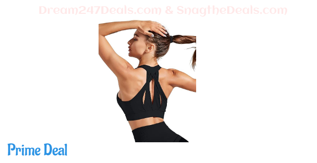 55% OFF Workout Sports Bra Women Padded Mesh Racerback Strappy Medium Impact