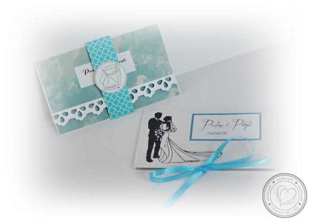 Kartki ślubne (kopertówki) niebiesko-kremowe