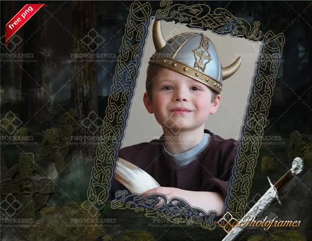 Marco para fotos con elementos Viking, Folk y Celtic