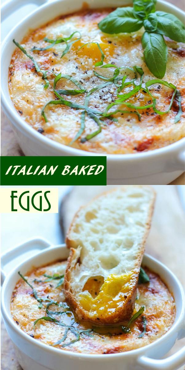 ITALIAN BAKED EGGS #Breakfastideas