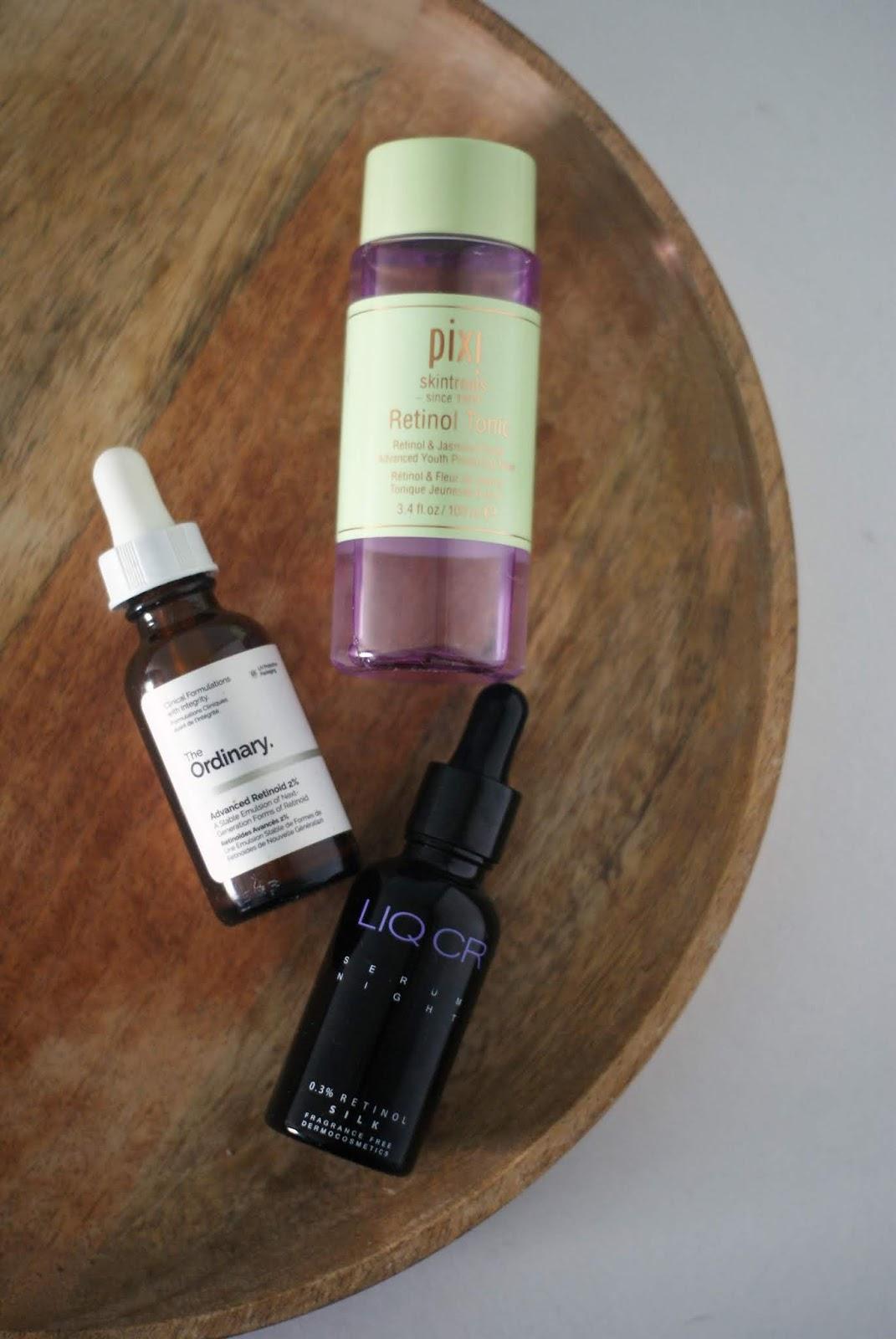 3 najlepsze produkty z retinolem dla początkujących/ The Ordinary, Pixi, Liqpharm.