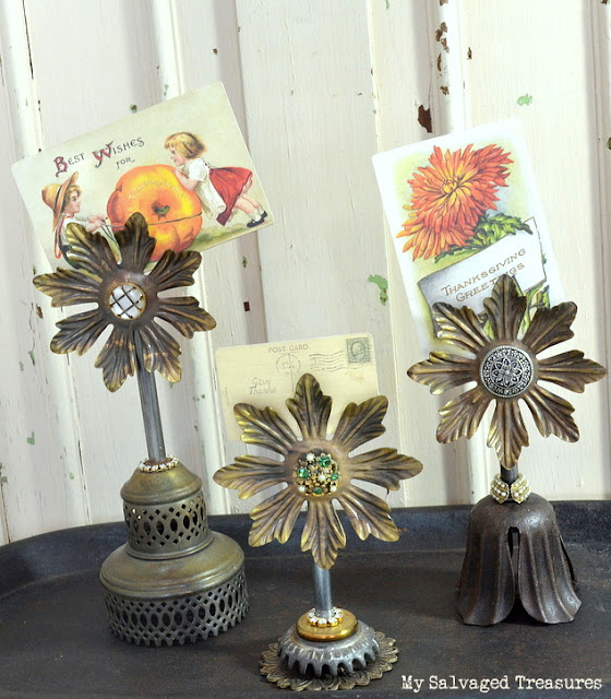 repurposed vintage lamp parts card holders