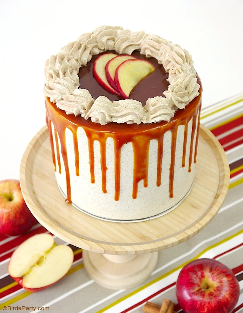 Remarkable Apple And Cinnamon Layer Cake With Salted Caramel Drip Party Funny Birthday Cards Online Kookostrdamsfinfo