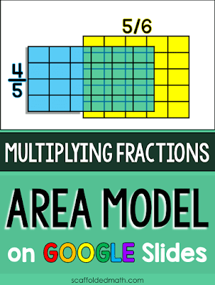 In this post I want to share with you a way to bring conceptual understanding of fraction multiplication with the area model even from afar. The interactive GOOGLE Slides resource allows you to move and overlap fractions to show fraction multiplication with the area model-- online and in color! And the editable GOOGLE Form activity lets students revise their work when working through fraction multiplication problems.