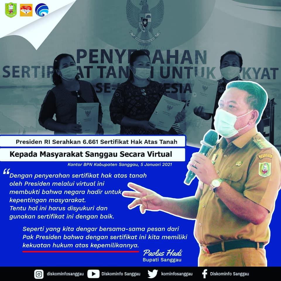 Kabupaten Sanggau terima Sertipikat Tanah gratis dari Presiden sebanyak 6.661 kuota