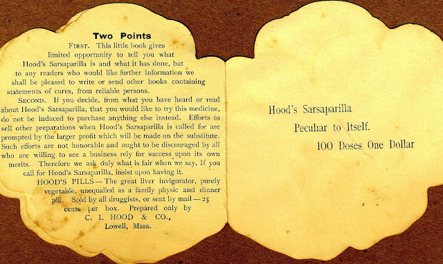 "promotional text on left page, ""Hood's Sarsaparilla Peculiar to Itself. 100 Doses One Dollar"" on the right page"