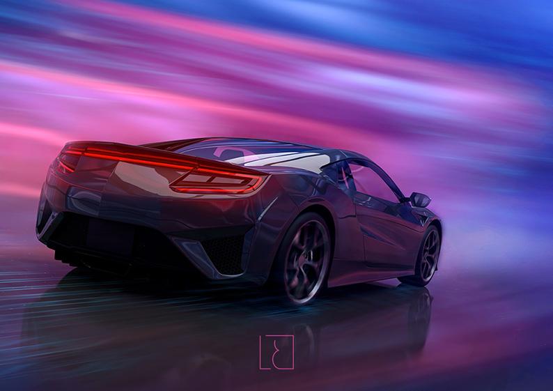 voiture sport luxe bleu violet
