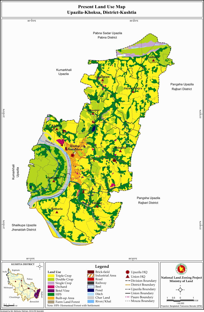 Khoksa Upazila Mouza Map Kushtia District Bangladesh