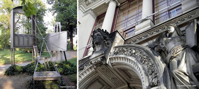 Escultura em homenagem ao Pintor Caspar David Friedrich (à esquerda) e detalhe da fachada do museu Albertinum