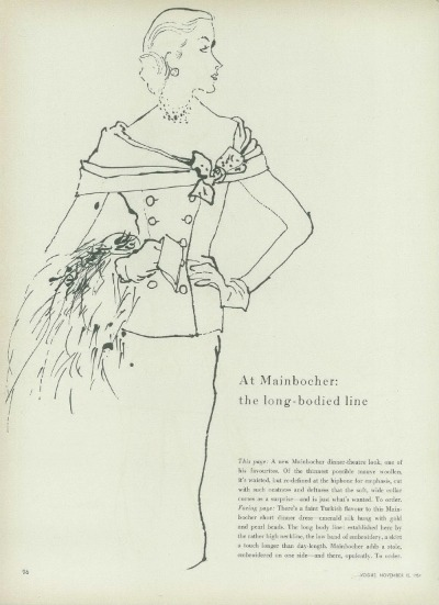 Sketch of woman dressed in fashionable suit designed by American Designer Mainbocher