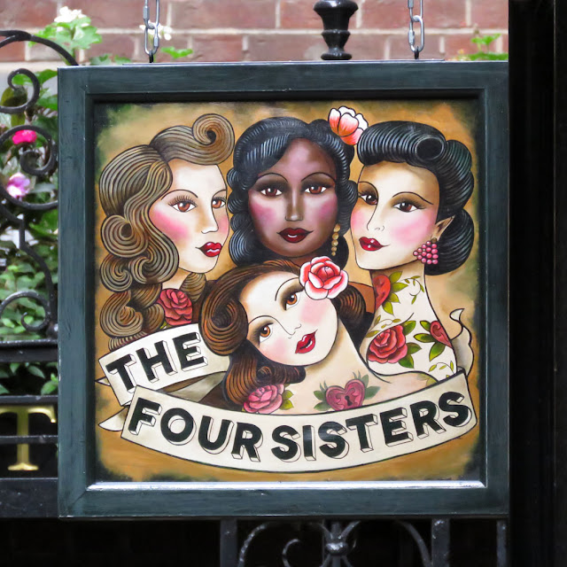Sign of The Four Sisters Bar, Groveland Court, Bow Lane, London