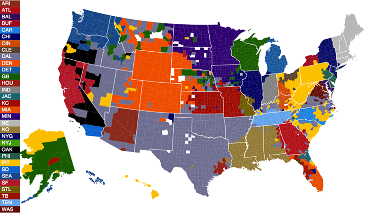 The U.S. split into the areas dominated by fans of each NFL team