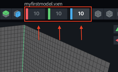 Size property field in VoxEdit for adjusting the voxel model size