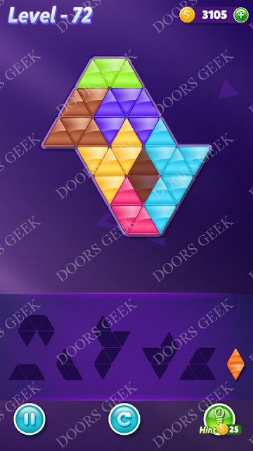 Block! Triangle Puzzle Advanced Level 72 Solution, Cheats, Walkthrough for Android, iPhone, iPad and iPod