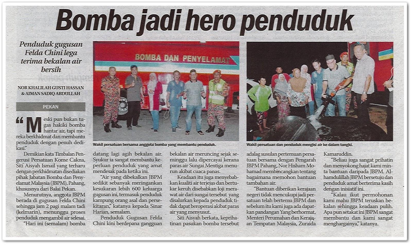 Bomba jadi hero penduduk - Keratan akhbar Sinar Harian 10 Mac 2019