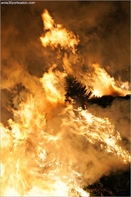 Llamas de la Hoguera en la Old Newbury Bonfire 2018