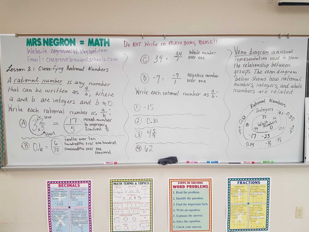 Mrs Negron 6th Grade Math Class Lesson 3 1 Classifying Rational Numbers