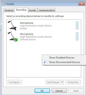 Cara mengatasi Microphone tidak berfungsi di Windows 7