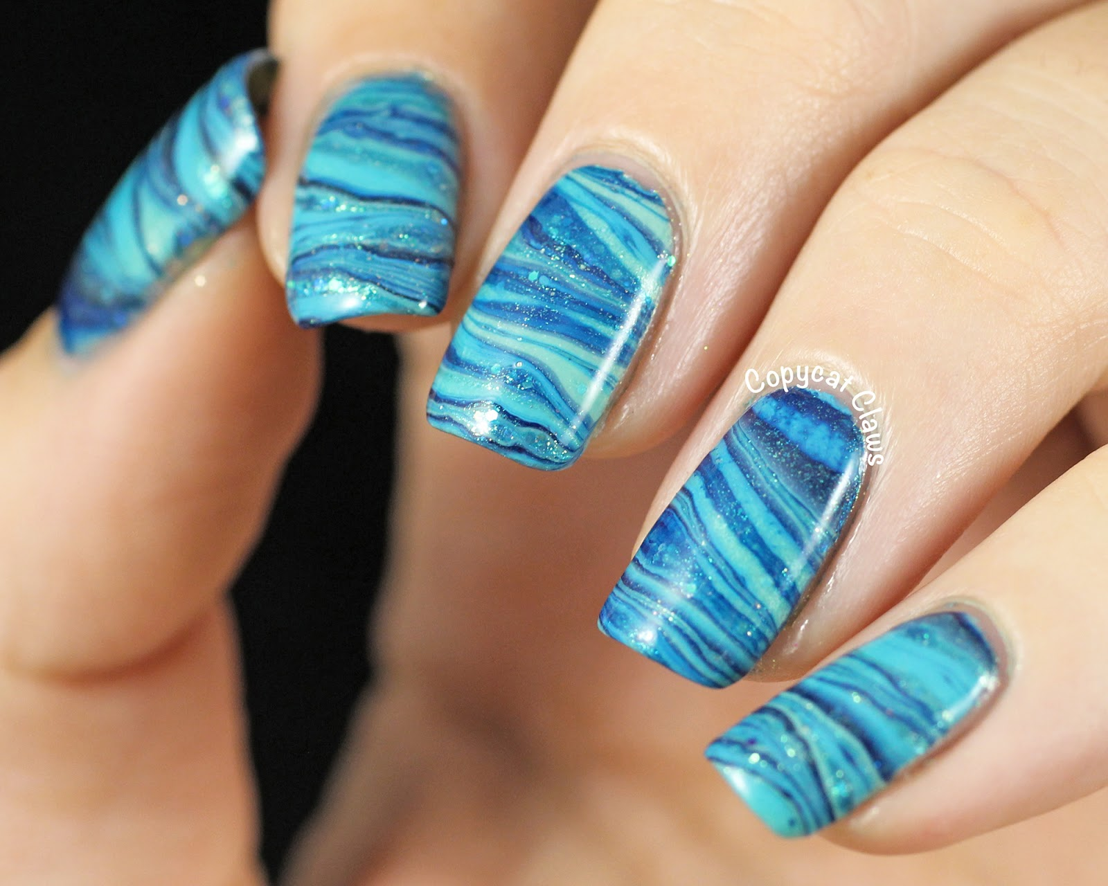 Copycat Claws: 31DC2014 Day 20 - Blue Water Marble Nail Art