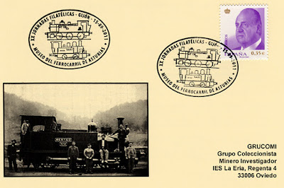 Tarjeta del matasellos en el Museo del Ferrocarril de Gijón emitido con motivo de las XX Jornadas Filatélicas organizadas por el Grupo Filatélico y Numismático de Gijón
