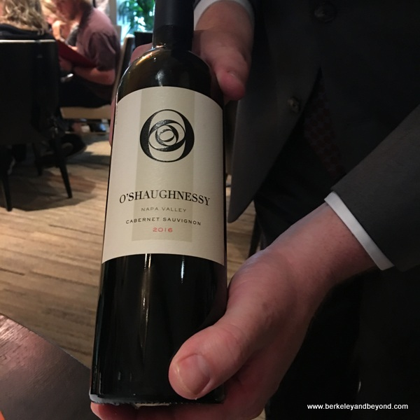 dry O'Shaughnessy Cabernet Sauvignon with black cherry notes at Campton Place Restaurant in San Francisco, California