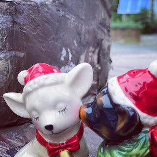 Two Kissing Dogs with Santa Hats in Catskill, New York