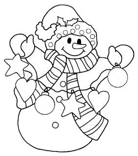 איש שלג עם קישוטים דף צביעה