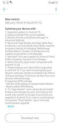Update OTA Android 10 Asus Zenfone 5Z