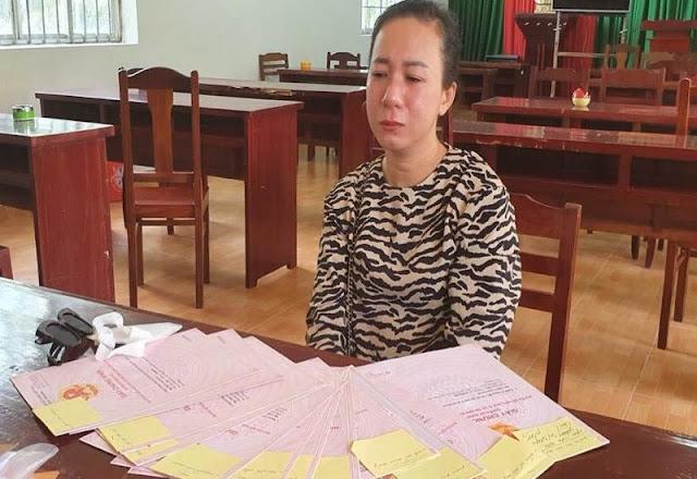 Đối tượng Trần Thị Oanh tại Cơ quan Công an.
