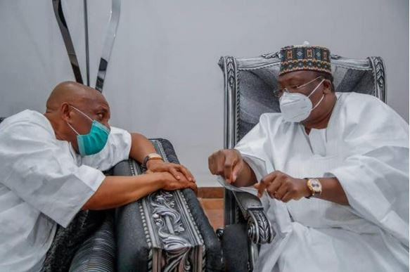 Senate President Lawan And Others Visit Orji Uzor Kalu After His Release From Kuje Prison