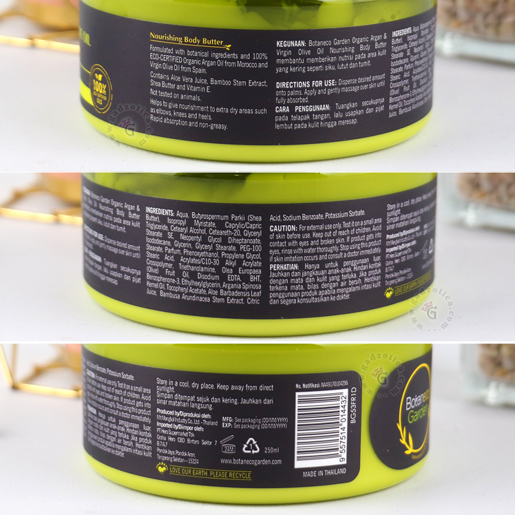 BOTANECO GARDEN ORGANIC ARGAN & VIRGIN OLIVE OIL BODY BUTTER REVIEW